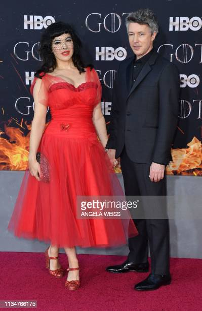 Irish actor Aidan Gillen and Camille O'Sullivan arrive for the Game of Thrones eighth and final season premiere at Radio City Music Hall on April 3...