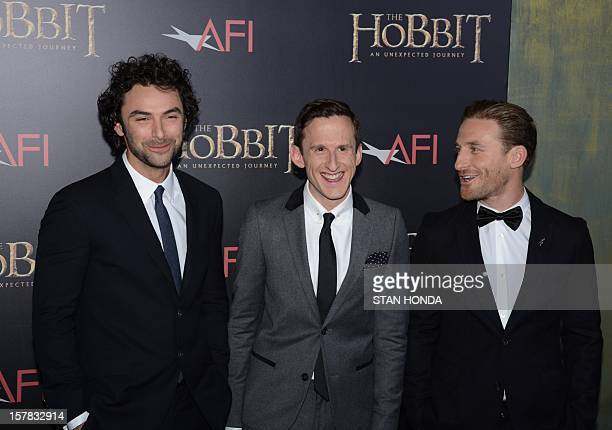 Irish actor Aidan Turner British actor Adam Brown and New Zealand actor Dean O'Gorman arrive at the US premiere of 'The Hobbit An Unexpected Journey'...