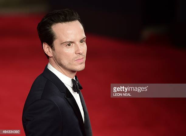 Irish actor Andrew Scott poses on arrival for the world premiere of the new James Bond film 'Spectre' at the Royal Albert Hall in London on October...