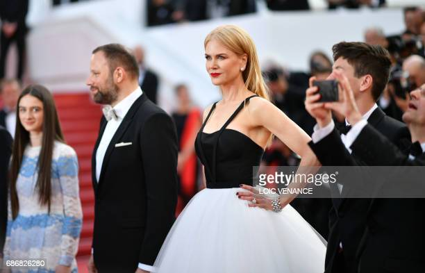 Irish actor Barry Keoghan Greek director Yorgos Lanthimos Australian actress Nicole Kidman pose as they arrive on May 22 2017 for the screening of...