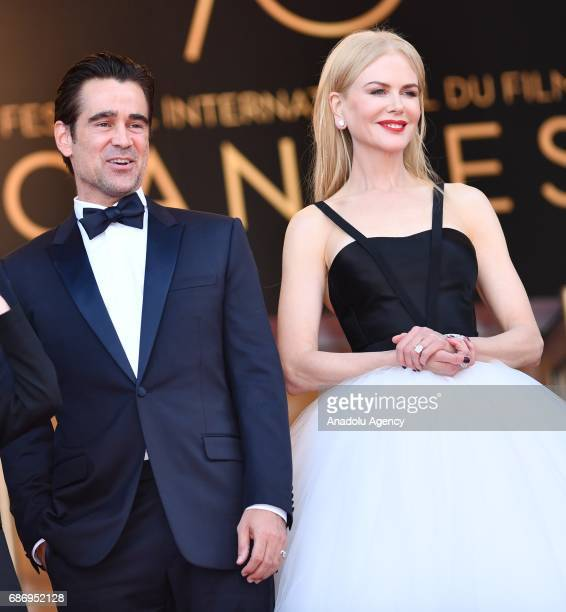 Irish actor Colin Farrell and Australian actress Nicole Kidman arrive for the premiere of the film 'The Killing of a Sacred Deer' in competition at...