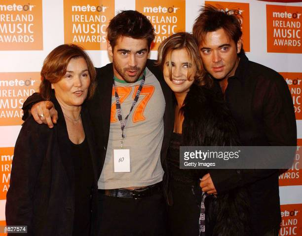 Irish actor Colin Farrell and his family attend the Irish Meteor Awards Show at The Point Theatre March 3 2003 in Dublin Ireland