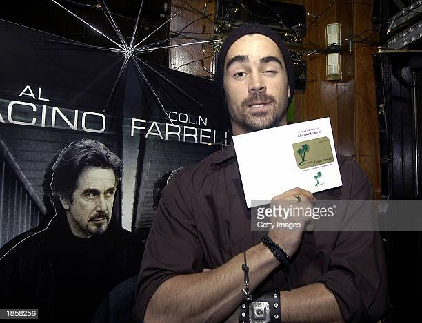 Irish actor Colin Farrell is presented with the Kebab Gold Card from Abrakebabra which entitles him to free kebabs his favorite food at Renards Night...