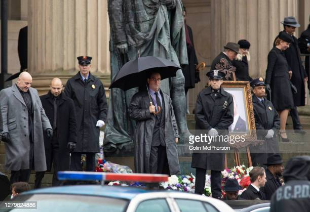 Irish actor Colin Farrell pictured outside St. George's Hall, during filming of The Batman movie which commences this week in Liverpool, England....