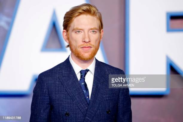 Irish actor Domhnall Gleeson poses on the red carpet upon arrival for the European film premiere of Star Wars The Rise of Skywalker in London on...