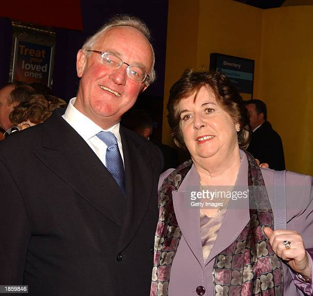 Irish actor Frank Kelly and his wife attend the premiere of his movie 'Evelyn' March 19 2003 in Dublin Ireland