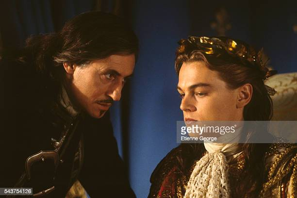 Irish actor Gabriel Byrne and American actor Leonardo DiCaprio on the film set of 'The Man in the Iron Mask' directed by American director Randall...