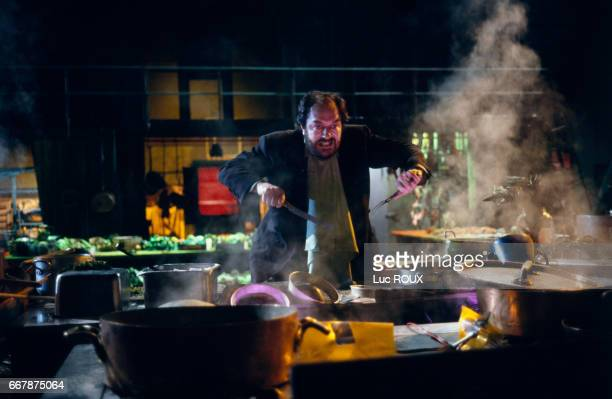 Irish actor Michael Gambon on the set of the film The Cook the Thief His Wife and Her Lover directed by Peter Greenaway