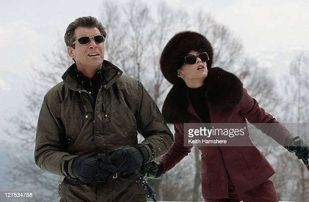 Irish actor Pierce Brosnan as 007 and French actress Sophie Marceau as Elektra King in the James Bond film 'The World Is Not Enough' 1999
