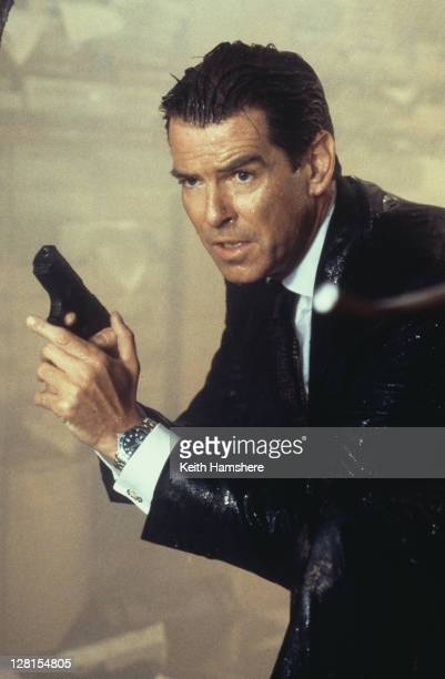 Irish actor Pierce Brosnan as 007 armed with his Walther P99 in a scene from the James Bond film 'The World Is Not Enough' 1999
