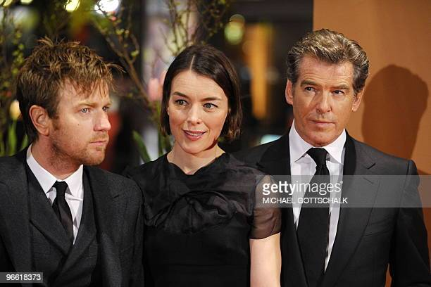 Irish actor Pierce Brosnan British actress Olivia Williams and British actor Ewan McGregor arrive for the premiere of the movie The Ghost Writer by...