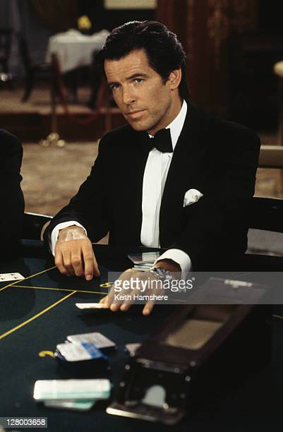 Irish actor Pierce Brosnan films a scene in the Casino de Monte Carlo, Monte Carlo, Monaco, for the James Bond film 'GoldenEye', 1995.