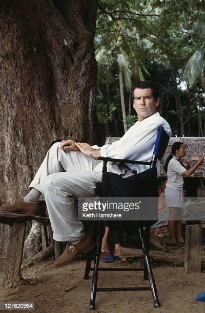 Irish actor Pierce Brosnan on location in Thailand for the James Bond film 'Tomorrow Never Dies' 1997