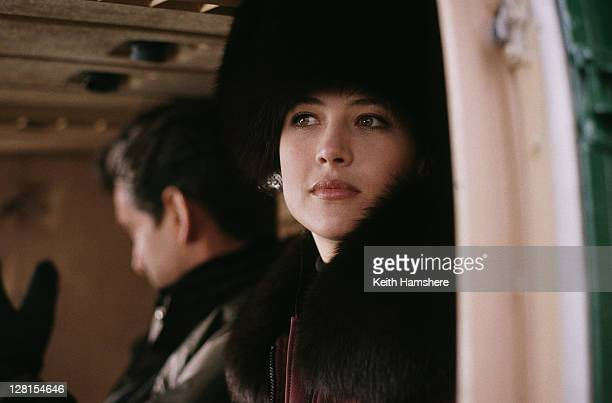 Irish actor Pierce Brosnan stars as 007 opposite French actress Sophie Marceau as Elektra King in the James Bond film 'The World Is Not Enough',...