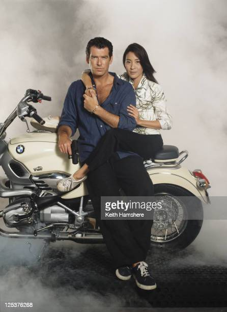 Irish actor Pierce Brosnan stars as 007 opposite Malaysian actress Michelle Yeoh in the James Bond film 'Tomorrow Never Dies' 1997 They are sitting...