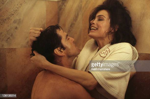 Irish actor Pierce Brosnan stars as James Bond alongside Dutchborn actress Famke Janssen as the villainous Xenia Onatopp in the sauna fight scene...