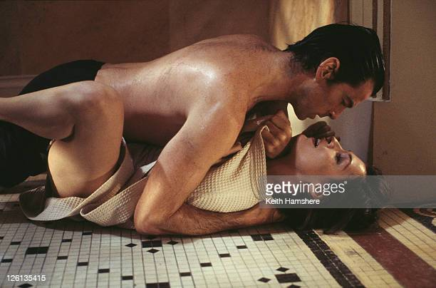 Irish actor Pierce Brosnan stars as James Bond alongside Dutchborn actress Famke Janssen as the villainous Xenia Onatopp in a sauna scene fight from...
