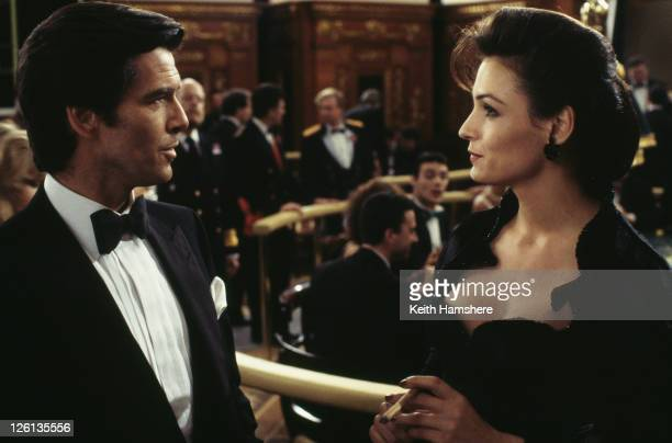 Irish actor Pierce Brosnan stars as James Bond alongside Dutchborn actress Famke Janssen as the villainous Xenia Onatopp in the film 'GoldenEye' 1995...