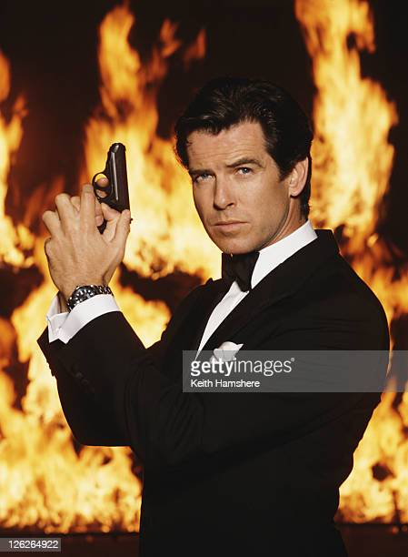 Irish actor Pierce Brosnan stars as James Bond in the film 'GoldenEye' 1995 He is holding his iconic Walther PPK
