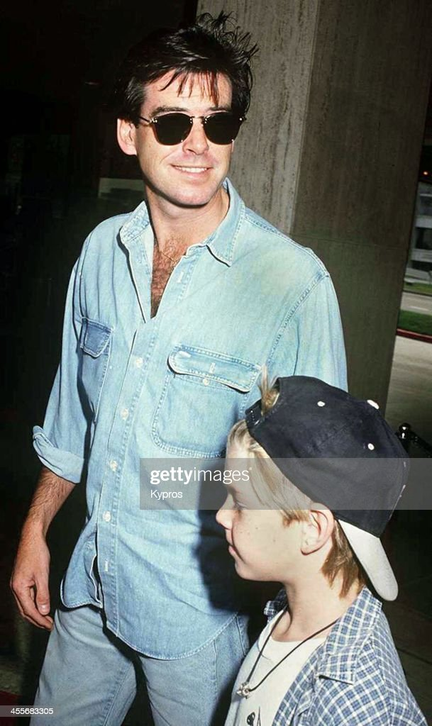 Irish actor Pierce Brosnan with his son Sean at the premiere of 'Home Alone 2: Lost in New York' at Century City, California, 15th November 1992.
