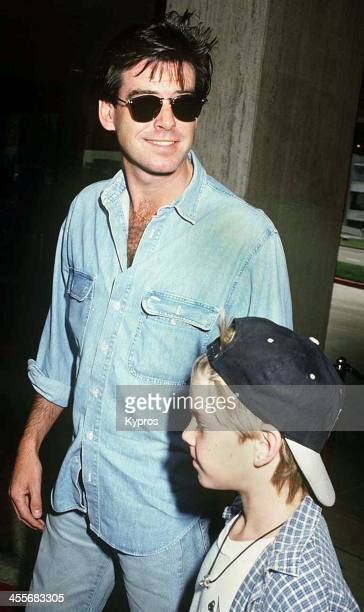 Irish actor Pierce Brosnan with his son Sean at the premiere of 'Home Alone 2 Lost in New York' at Century City California 15th November 1992