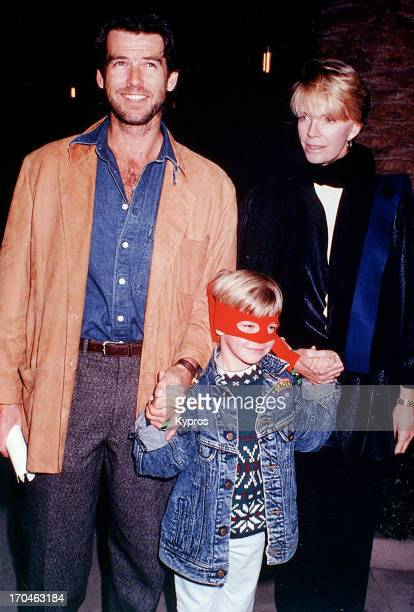 Irish actor Pierce Brosnan with his wife actress Cassandra Harris and their child circa 1990