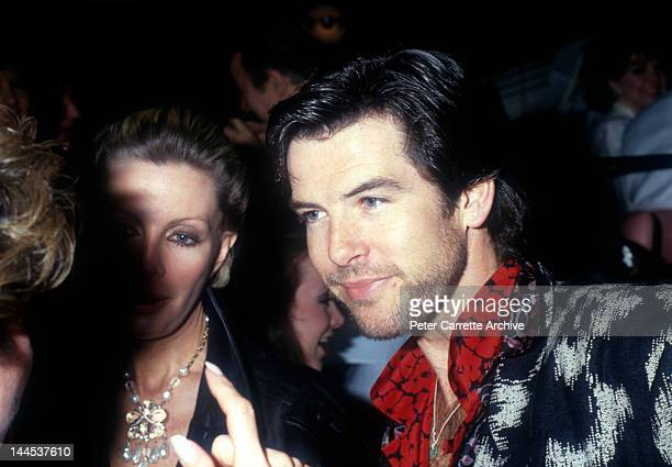 Irish actor Pierce Brosnan with his wife Cassandra Harris attend the opening night party at Stringfellow's on March 12 1986 in New York City