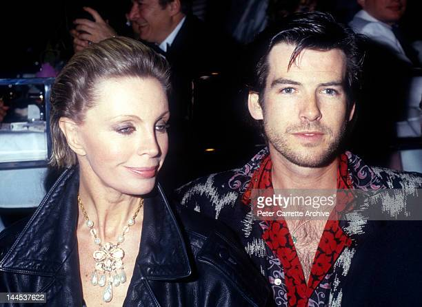 Irish actor Pierce Brosnan with his wife Cassandra Harris attend the opening night party at Stringfellow's on March 12, 1986 in New York City.