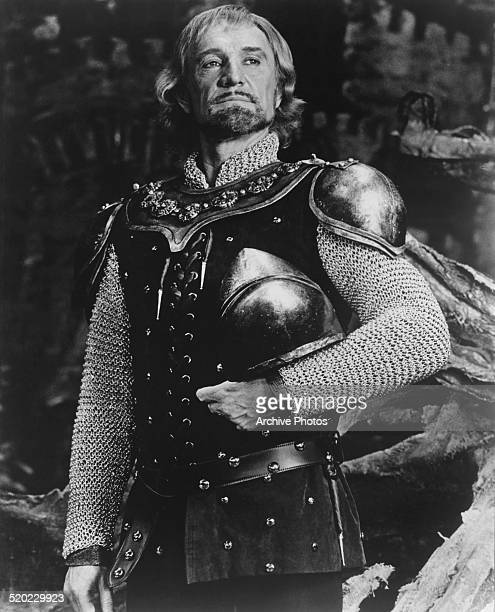 Irish actor Richard Harris as King Arthur in the musical 'Camelot' at the Winter Garden Theatre on Broadway New York City USA 1981