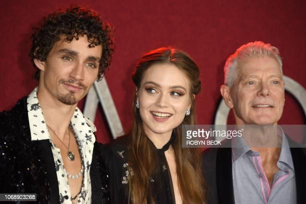 Irish actor Robert Sheehan Icelandic actress Hera Hilmar and US actor Stephen Lang attend the premiere of 'Mortal Engines' at the Regency Village...
