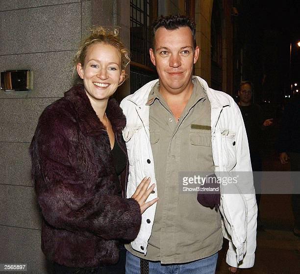Irish actress Lorraine Pilkington and boyfriend Simon Massey attend the after party for Peter and the Wolf at the Clarence Hotel on October 3 2003 in...