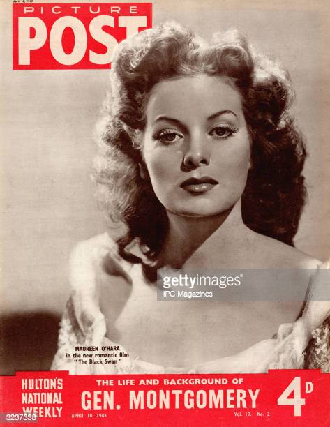 Irish actress Maureen O'Hara as she appears in the 20th Century Fox swashbuckler 'The Black Swan' April 1943 The headline beneath reads 'The Life and...
