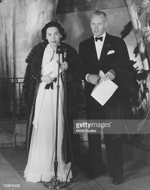Irish actress Maureen O'Sullivan with her fiancee writer John Farrow at the Hollywood preview of 'David Copperfield' directed by George Cukor January...