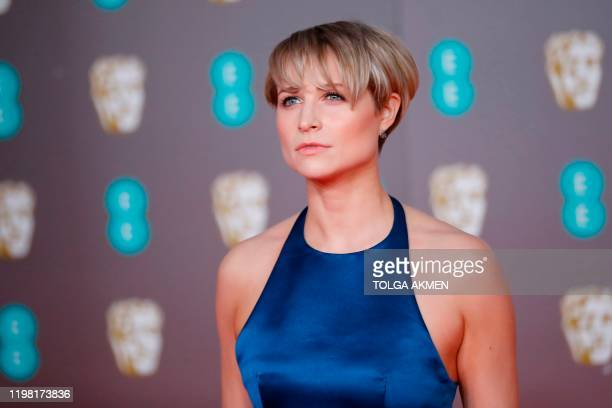 Irish actress Niamh Algar poses on the red carpet upon arrival at the BAFTA British Academy Film Awards at the Royal Albert Hall in London on...