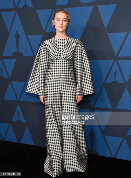 Irish actress Saoirse Ronan arrives to attend the 11th Annual Governors Awards gala hosted by the Academy of Motion Picture Arts and Sciences at the...