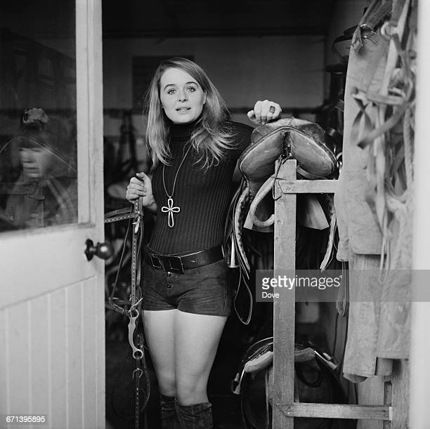 Irish actress Sinead Cusack at Richmond Park stables London UK 19th November 1971