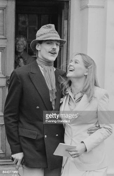 Irish actress Sinead Cusack with English actor Jeremy Irons on their wedding day 28th March 1978