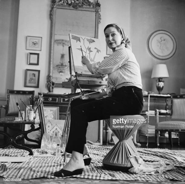 Irish actress Valerie Hobson Baroness Profumo painting at her house UK 5th February 1963