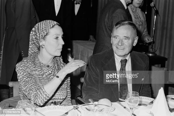 Irish actress Valerie Hobson talking to EnglishAmerican novelist Christopher Isherwood at the lunch given by Foyles Bookshp at the Dorchester Hotel...