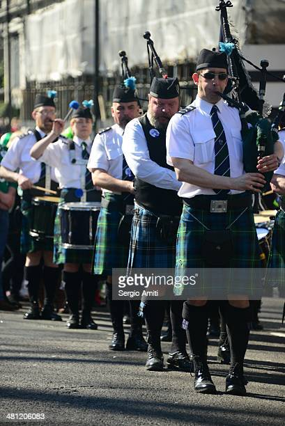 Irish bagpipers at the a Saint Patrick's Day Parade in London