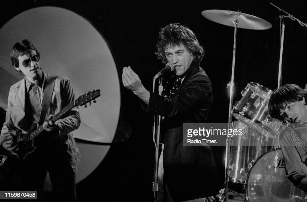 Irish band 'The Boomtown Rats'; Gerry Cott, Bob Geldof and Pete Briquette, performing on the BBC television series 'The Leo Sayer Show', October 3rd...