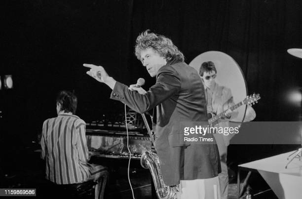 Irish band 'The Boomtown Rats'; Johnnie Fingers , Bob Geldof and Gerry Cott, performing on the BBC television series 'The Leo Sayer Show', October...