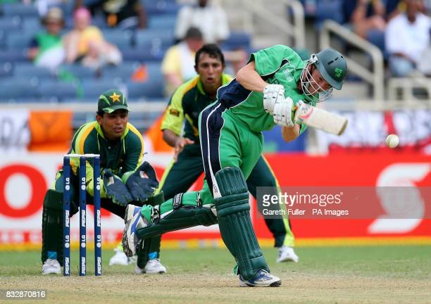 Irish batsman Niall O'Brien in action as Ireland take on Pakistan in the second match of the ICC Cricket World Cup 2007 Group C match at Sabina Park...