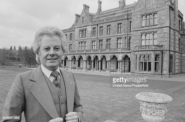 Irish born singer and entertainer Danny La Rue pictured outside his country house hotel Walton Hall in Warwickshire England on 14th April 1978