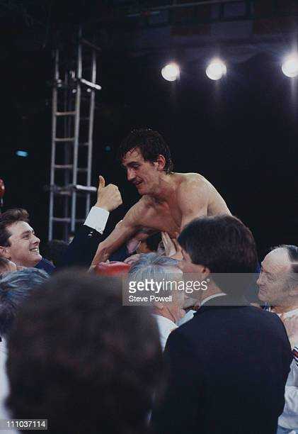 Irish boxer Barry McGuigan after winning his title fight against WBA world featherweight champion Eusebio Pedroza of Panama at Loftus Road football...