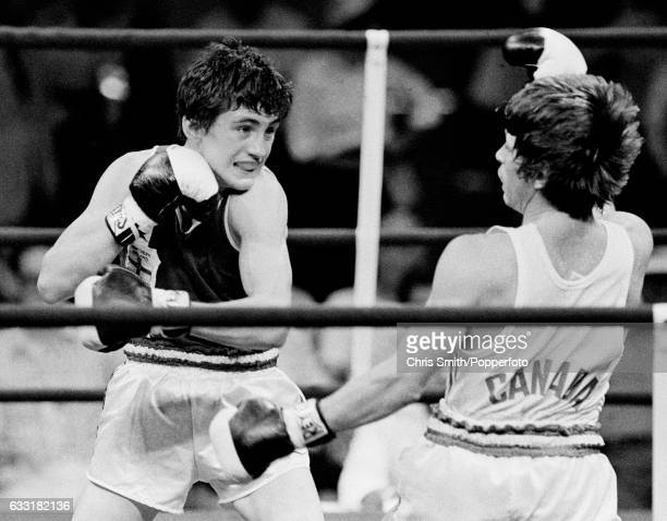 Irish boxer Barry McGuigan enroute to winning the bantamweight gold medal at the Commonwealth Games in Edmonton Canada circa August 1978