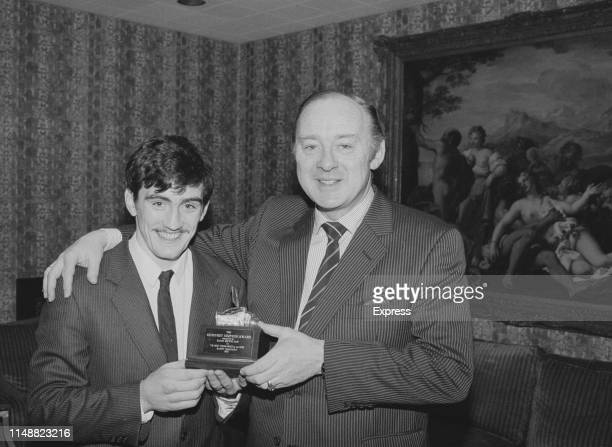 Irish boxer Barry McGuigan presented with the Geoffrey Simpson Award by the Boxing Writers Club for 1983 Best Young Boxer of the Year UK 19th January...