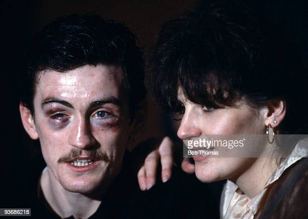 Irish boxer Barry McGuigan with his wife at a press conference after his WBA Featherweight World Championship victory over Danilo Cabrera, in Dublin,...