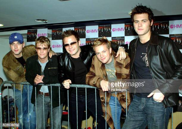 Irish boy band, Westlife, before meeting fans at HMV Grafton Street, Dublin, for the launch of their new greatest hits album, Unbreakable.