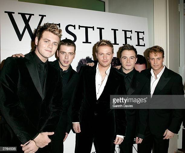 Irish boy band Westlife join the Irish Ambassador at a black tie reception in recognition of Westlife's five years in the limelight at the Irish...